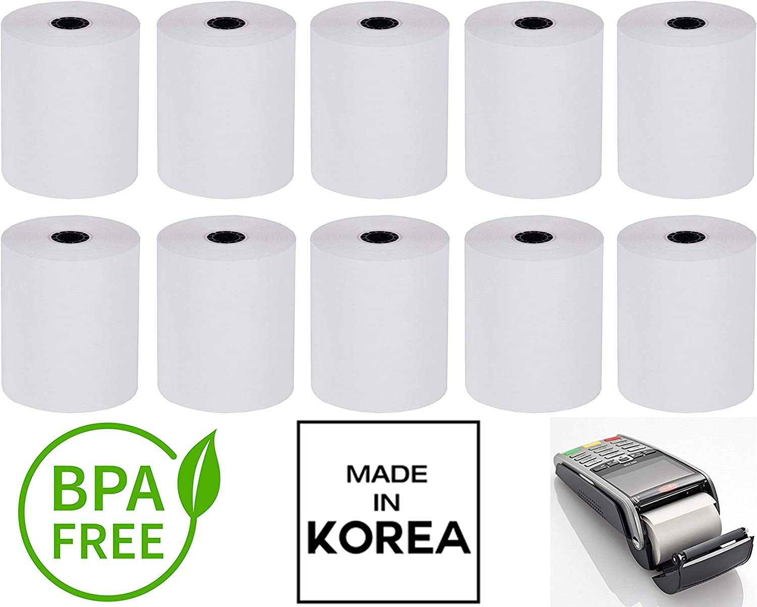Made in South KOREA Individual Packed 2 1//4 x 50 Thermal Receipt Paper Credit Card Paper 10 Rolls Receipt Paper Supplies Compatible with Verifone Vx520 Vx670 Vx680 Ingenico iCT220 iCT250 FD400