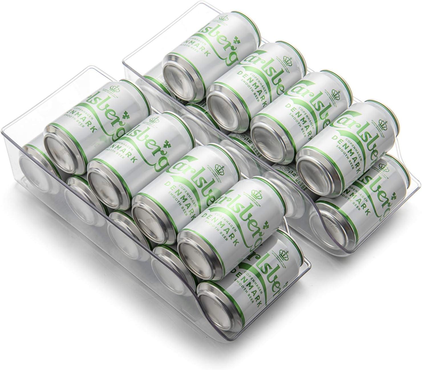 Set of 2 JINAMART Refrigerator Organizer Bins Pop Soda Can Dispenser Beverage Holder for Fridge, Freezer, Kitchen, Countertops, Cabinets - Clear Plastic Canned Food Pantry Storage Rack (2 PCS)