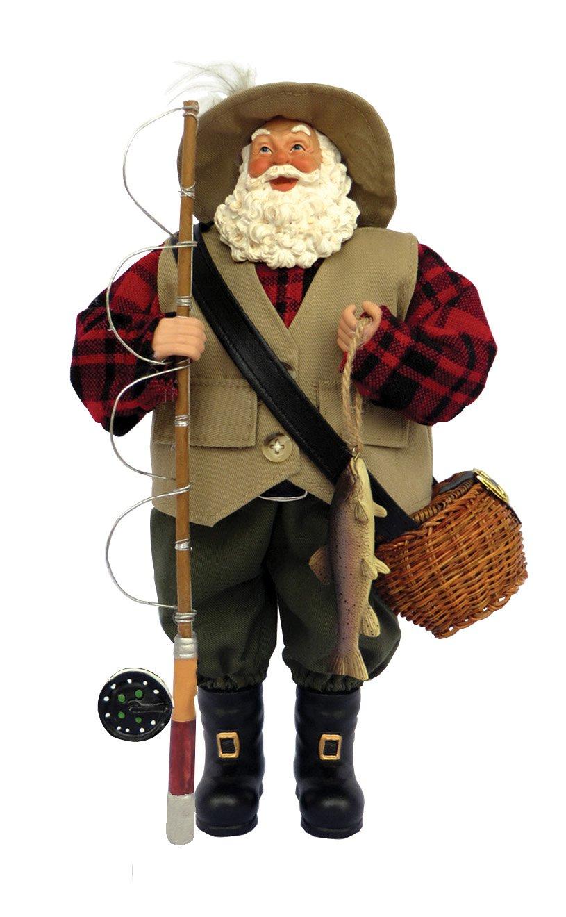 "Santa's Workshop 5620 Fly Fishing Santa Figurine, 12"", Multi"
