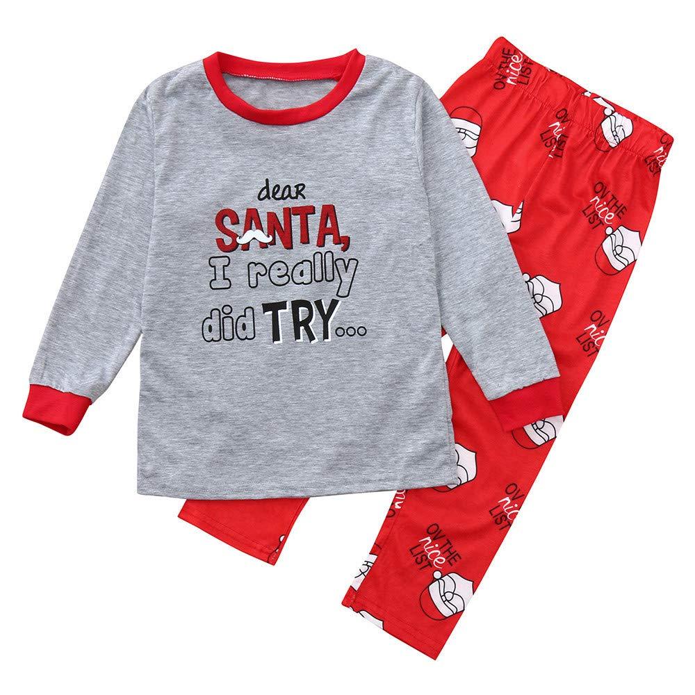 2 Pezzi Di Natale Famiglia Pigiami, Madre, Padre E Bambini Lettere Stampa Top + Pantaloni Famiglia Pigiami Vestiti