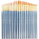Premium Art Brush Set-24 Piece Golden Synthetic Hair, Short Wooden Handle Artist Paint Brushes for Acrylic, Oil, Watercolor Painting