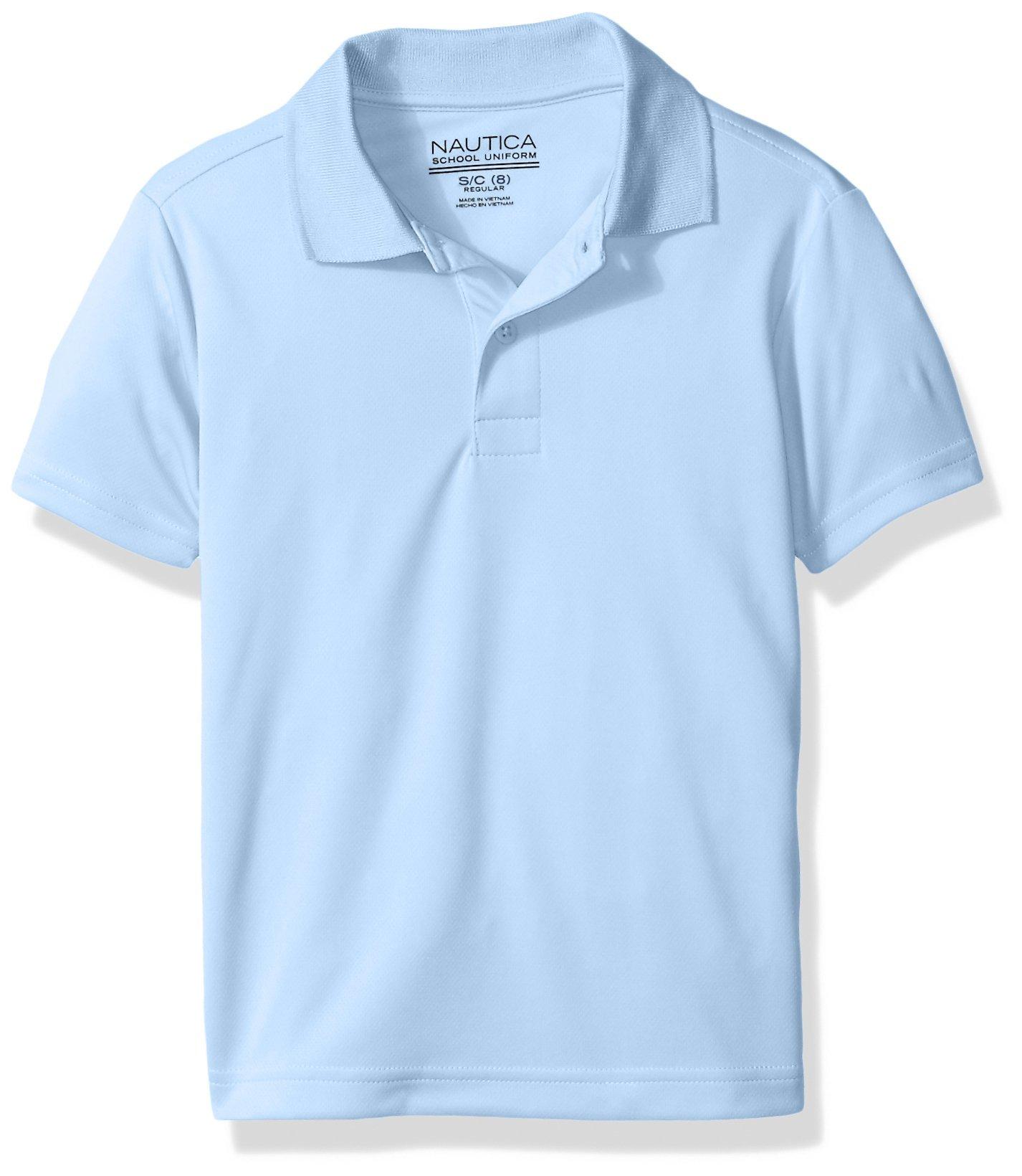 Nautica Boys' Little Boys' Uniform Short Sleeve Performance Polo, Light Blue, Medium/5