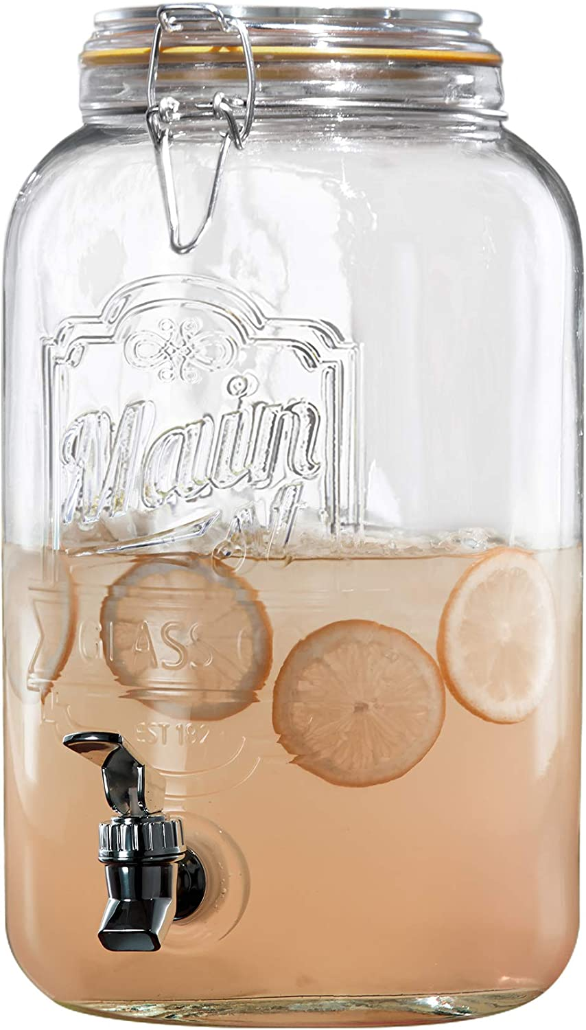 Style Setter 210256-CB Beverage Cold Drink Dispenser w/ 1.5-Gallon Capacity Glass Jug, Leak-Proof Acrylic Spigot for Parties, Weddings, & More, 1.5 Gallon, Clamp Lid