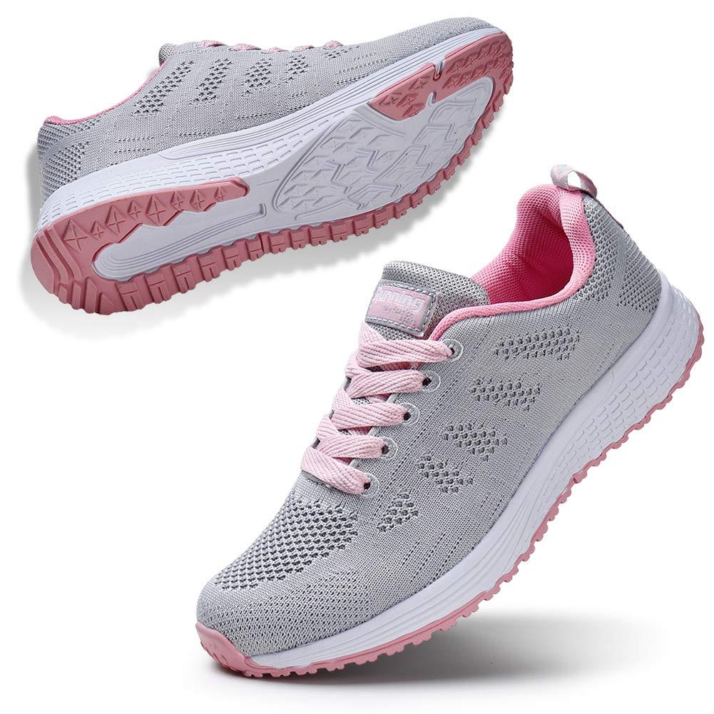 STQ Women Walking Shoes Wide Arch Support Non Slip Comfortable Flexible Fitness Jogging Sport Shoes Light Grey 5.5