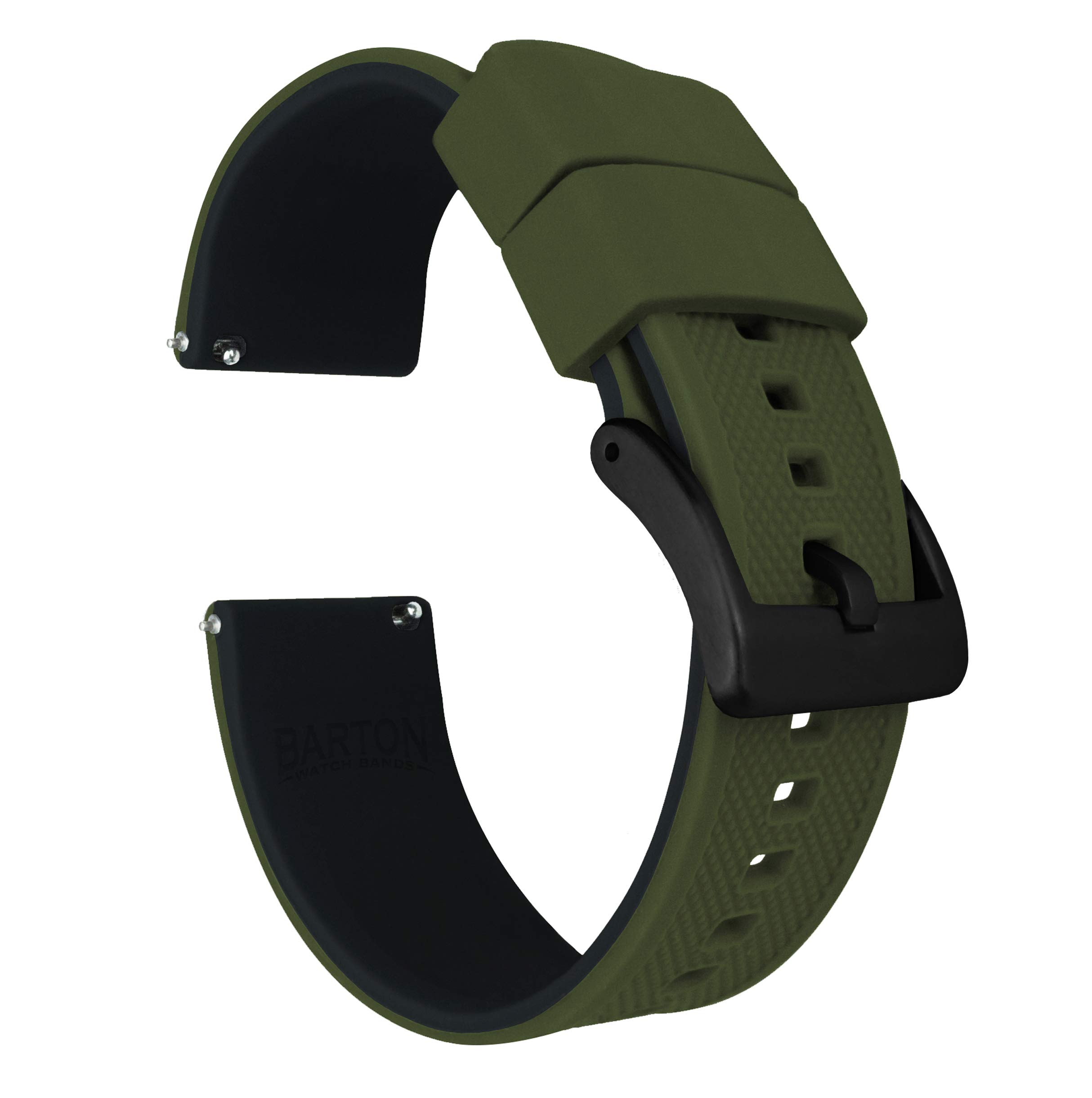 Barton Elite Silicone Watch Bands - Black Buckle Quick Release - Choose Color - 18mm 19mm 20mm 21mm 22mm 23mm & 24mm Watch Straps