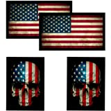 American Flag & Skull Flag HardHat & Helmet Stickers: 4 Decal Value Pack. Great for Motorcycle Biker Helmet…