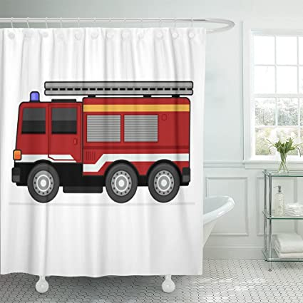 Image Unavailable Not Available For Color Emvency Shower Curtain Red Engine Fire