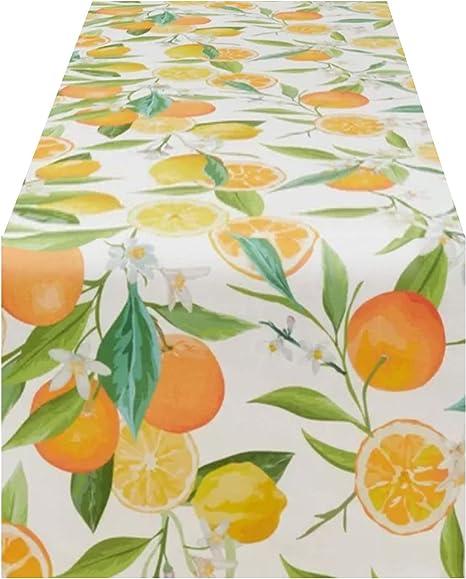 Table Runner Citrus Fruit Orange Lime Gratefruit White Flowers Cotton Sateen