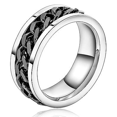 Beydodo Edelstahl Herren Ring 8mm Silber Schwarz Anker Kette