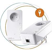 Devolo 8261 Magic 2 LAN: Kit de Démarrage - CPL 2400 Mbits/s, 1 port Ethernet Gigabit pour un Internet magique, avec prise de courant intégrée, blanc