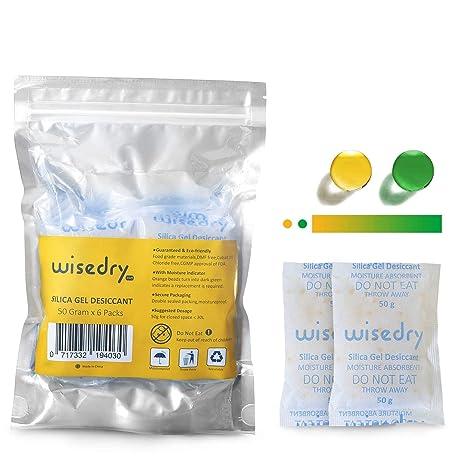 wisedry 50 Gramos [6 Paquetes] Gel De Sílice bolsitas Paquetes con Perla de Naranja Indicador de Humedad Desecante Deshumidificador para secador ...
