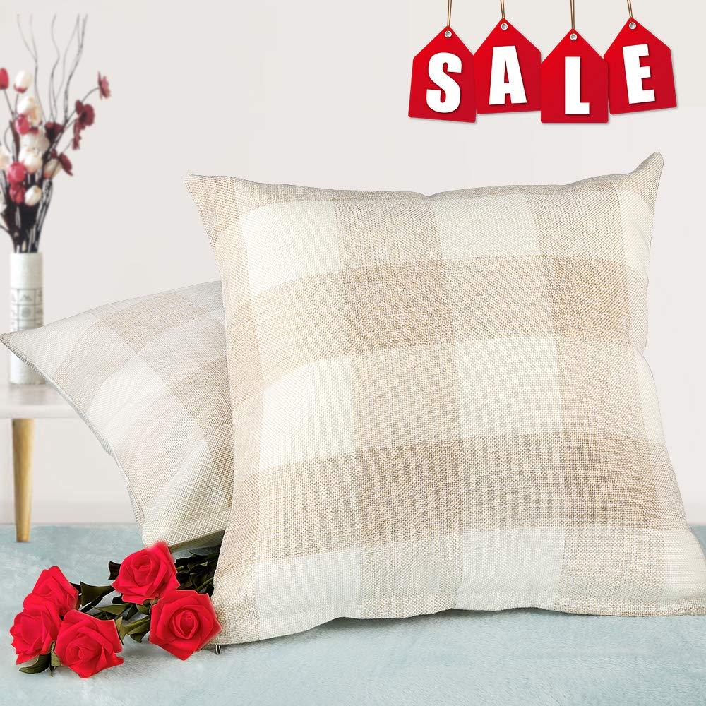 Living Room Farmhouse Pillows Cases Set of 2 18 x 18 Inch//45 x 45 Cm LBSky Buffalo Plaid Throw Pillow Covers- Christmas Home Decor Checkers Plaids Cotton Line Cushion Cover for Sofa
