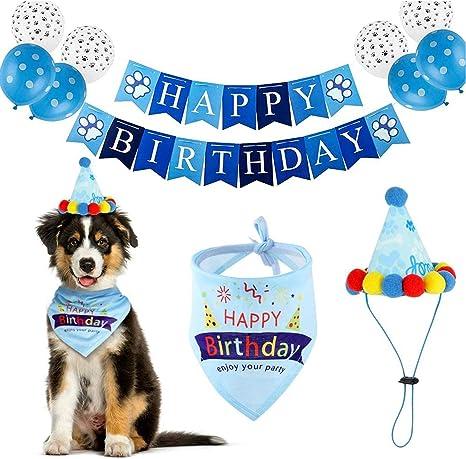 Blue and White Polkadots Boy/'s 1st Birthday Banner Puppy Dog Birthday Party Decorations