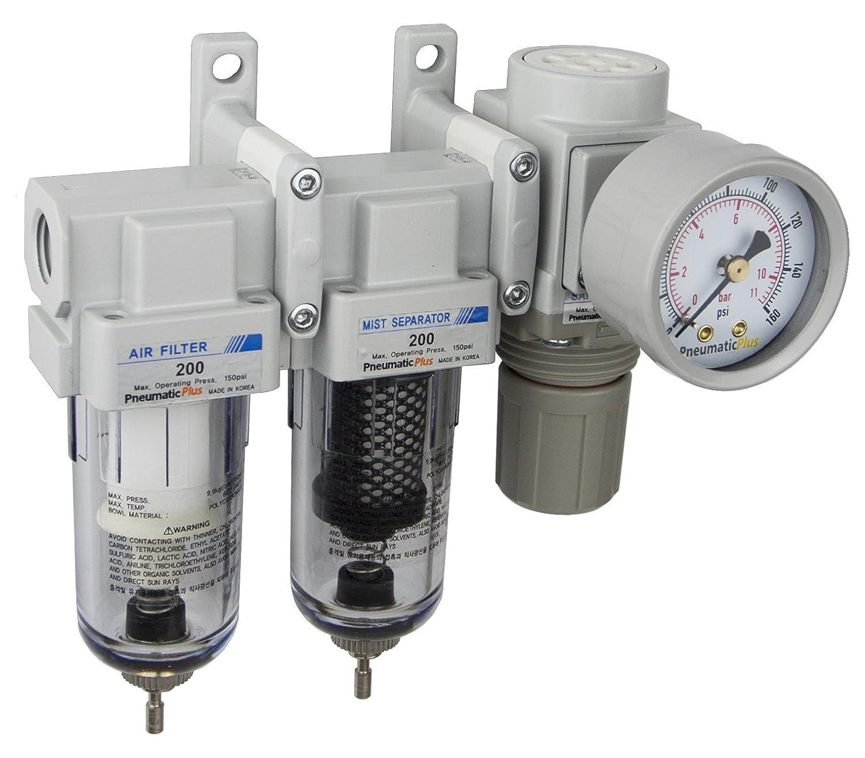 PneumaticPlus Sau230-02g mini sistema de tres etapas de secado al aire, 1/4' bspt - filtro de aire de partí culas, filtro de coalescencia, el regulador de presió n de aire combo 1/4 bspt - filtro de aire de partículas