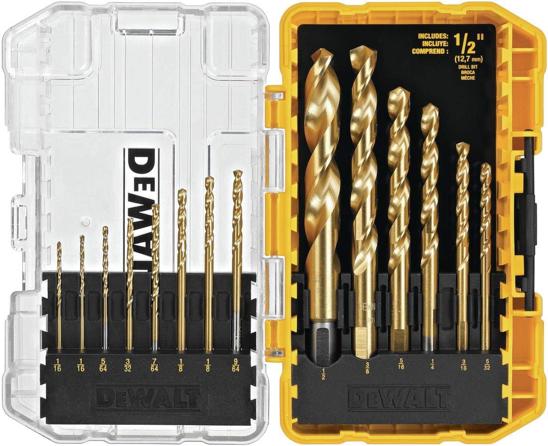DEWALT DW1341 14-Piece Titanium Speed Tip Drill Bit Set - Jobber Drill Bits -