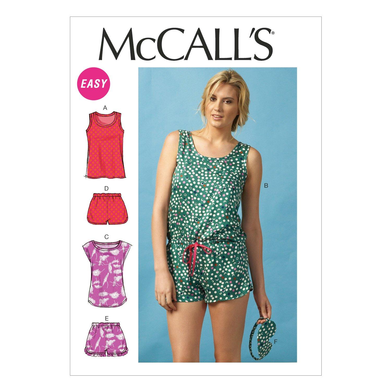 Amazon.com: McCall Pattern Company M6848 Misses\' Tops, Romper ...