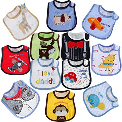 Toddlers Bibs Waterproof Saliva Towel Double-Sided Cotton Feeding Bandana Bib 6A