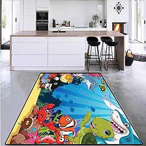 Whale, Bath Mat 3D Digital Printing Mat, Colorful Underwater Sandy Ground Cartoon Shark Fin Sea Plants Art Print, Extra Large Area Rug 6' x 9' Sky Blue Hot Pink Orange