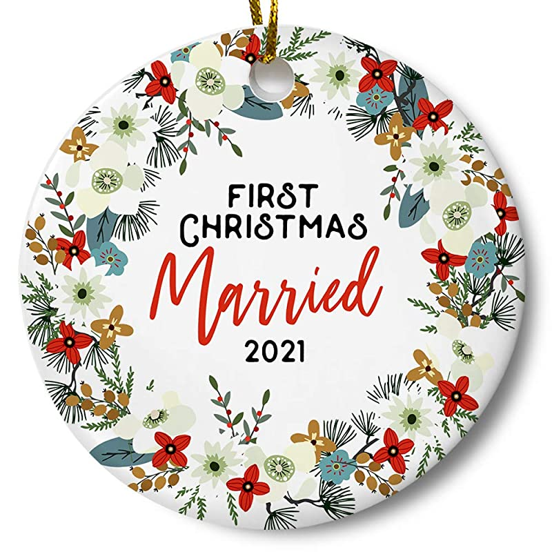 First Christmas Married Ornament 2021 Amazon Com First Christmas Married 2021 Ornament Newlywed Couples Keepsake Wedding Present 3 Inch Flat Ceramic Ornament With Gift Box Handmade