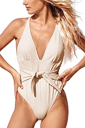 47358169171 CUPSHE Women's Back Cross Tie Tender Love One Piece Swimsuit Small Beige