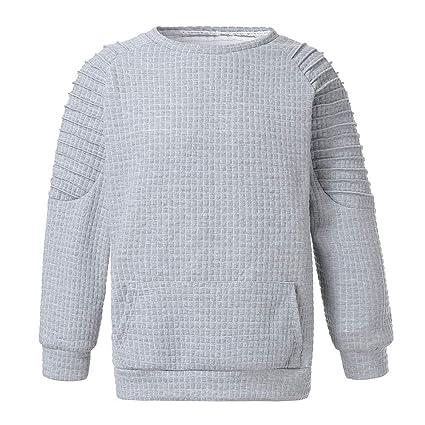 LuckyGirls Hombre Camisetas Sudaderas Color Puro Slim Fit Cuadros Plisado Manga Larga Deportivas Chándales Polos