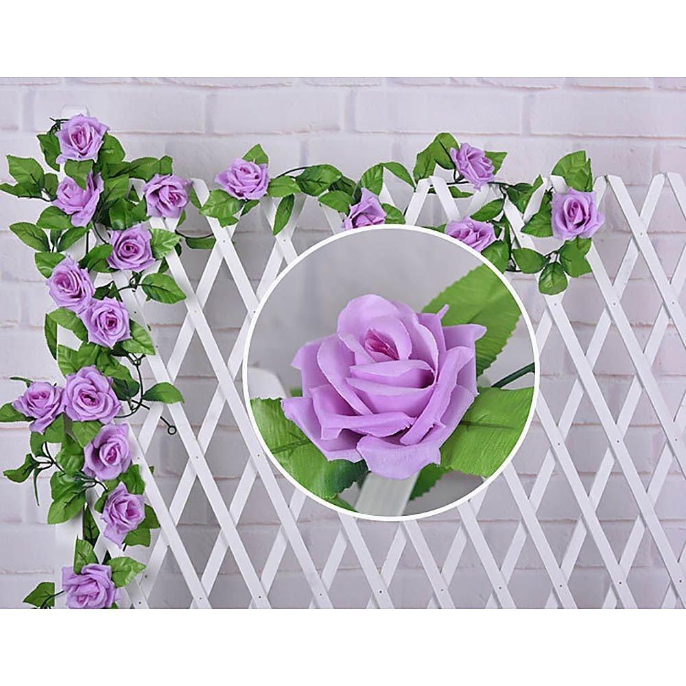 VANKER Artificiel Faux Rose Fleur Lierre Vigne Vert Feuille Guirlande Décoration(Violet clair)