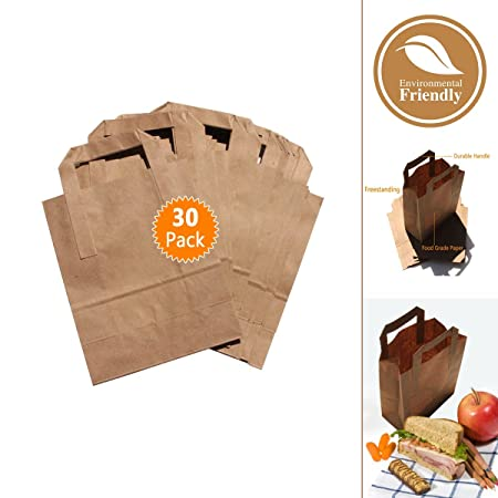 Paper Carry Takeaway Lunch Bags- Brown Eco Friendly Safe