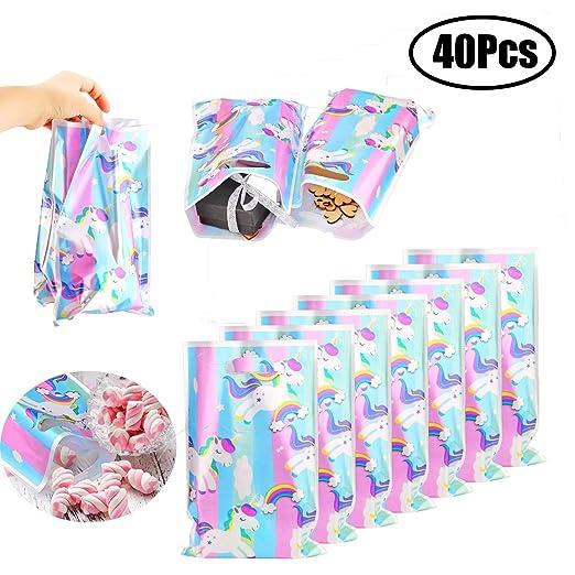 LEEQ Paquete de 40 Bolsas de Regalo de Unicornio para ...