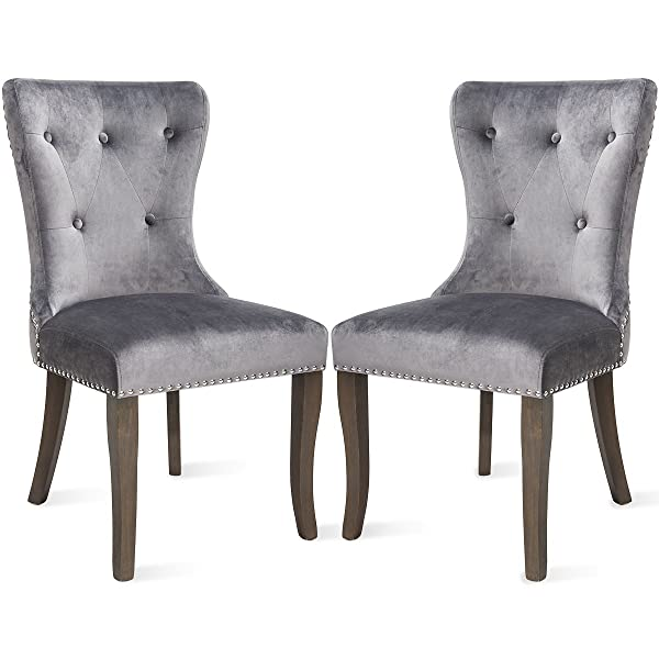 Harper&Bright Designs Victorian Dining Chair Button Tufted Armless Chair Upholstered Accent Chair, Nailhead Trim, Chair Ring Pull Set of 2 (Grey)