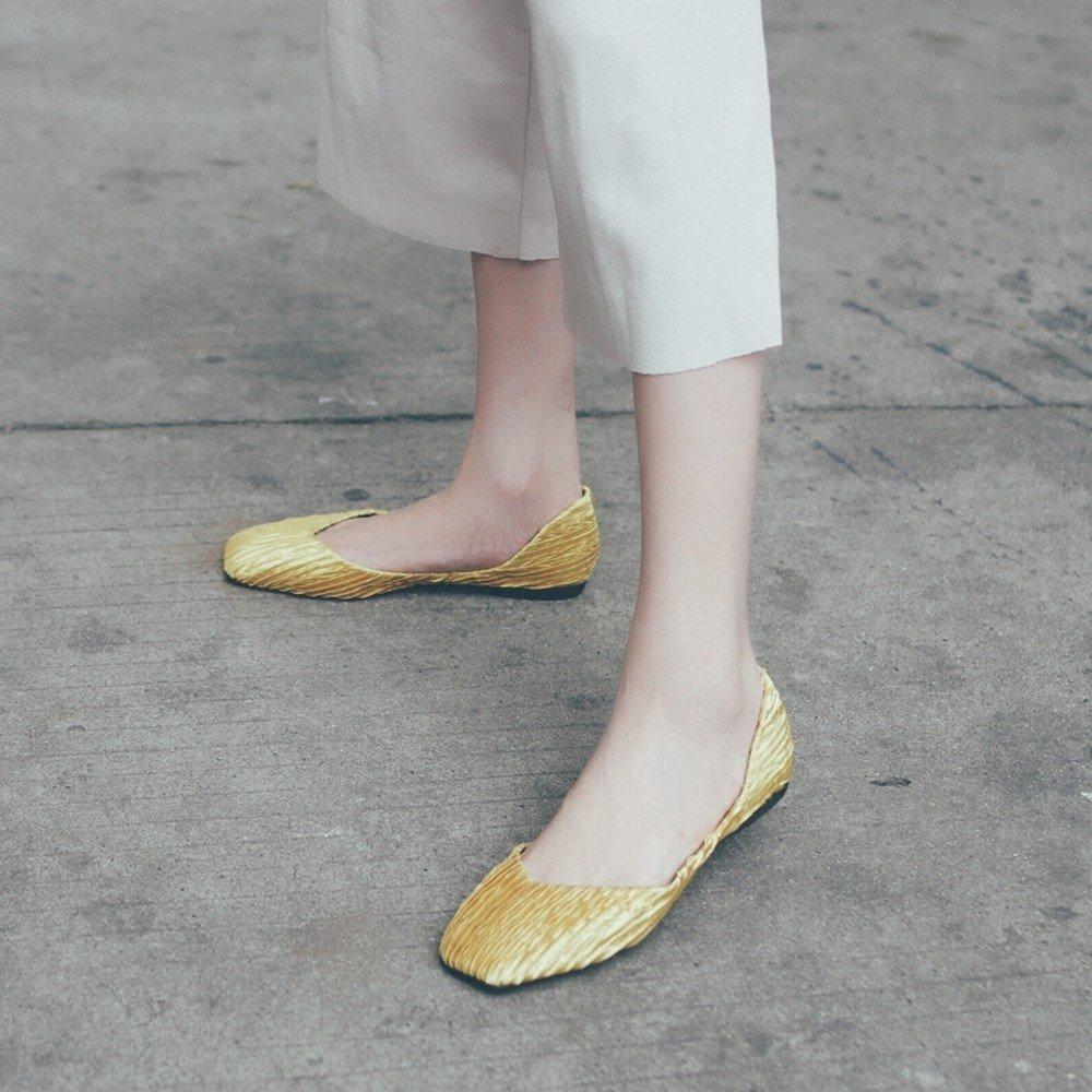DHG Lässige Schuhe Flacher Fauler Schuhe des Flachen Mundquadrats Mundquadrats Mundquadrats Weichen Unteren Balletts,Gelb,36 - 1bb997