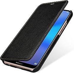 StilGut Book Type, Housse en Cuir pour Huawei P20 Lite. Etui de Protection en Cuir véritable pour Huawei P20 Lite à Ouverture latérale, Noir
