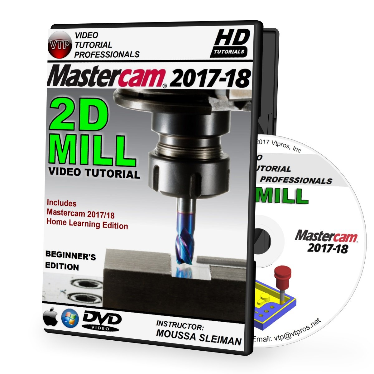 Mastercam 2017-2018 - 2D MILL Beginner 3-Axis Video Tutorial in 720p HD