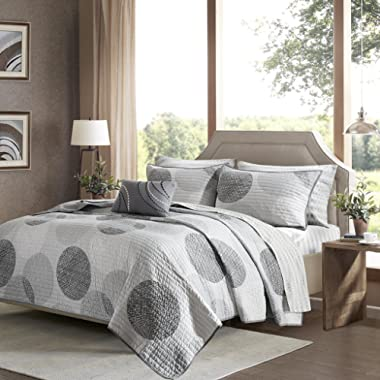Madison Park Essentials Knowles King Size Quilt Bedding Set - Grey, Geometric Dots – 8 Piece Bedding Quilt Coverlets – Ultra Soft Microfiber with Cotton Sheets Bed Quilts Quilted Coverlet
