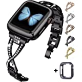 JFdragon Watch Bands Compatible with Apple Watch 38mm 40mm 42mm 44mm Series 5 4 3 2 1 Women Jewelry Metal Wristband Strap wit