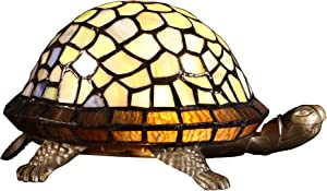 Bieye L10400 Tortoise Tiffany Style Stained Glass Accent Table Lamp Night Light for Bedside Living Room (Multi-Colored)