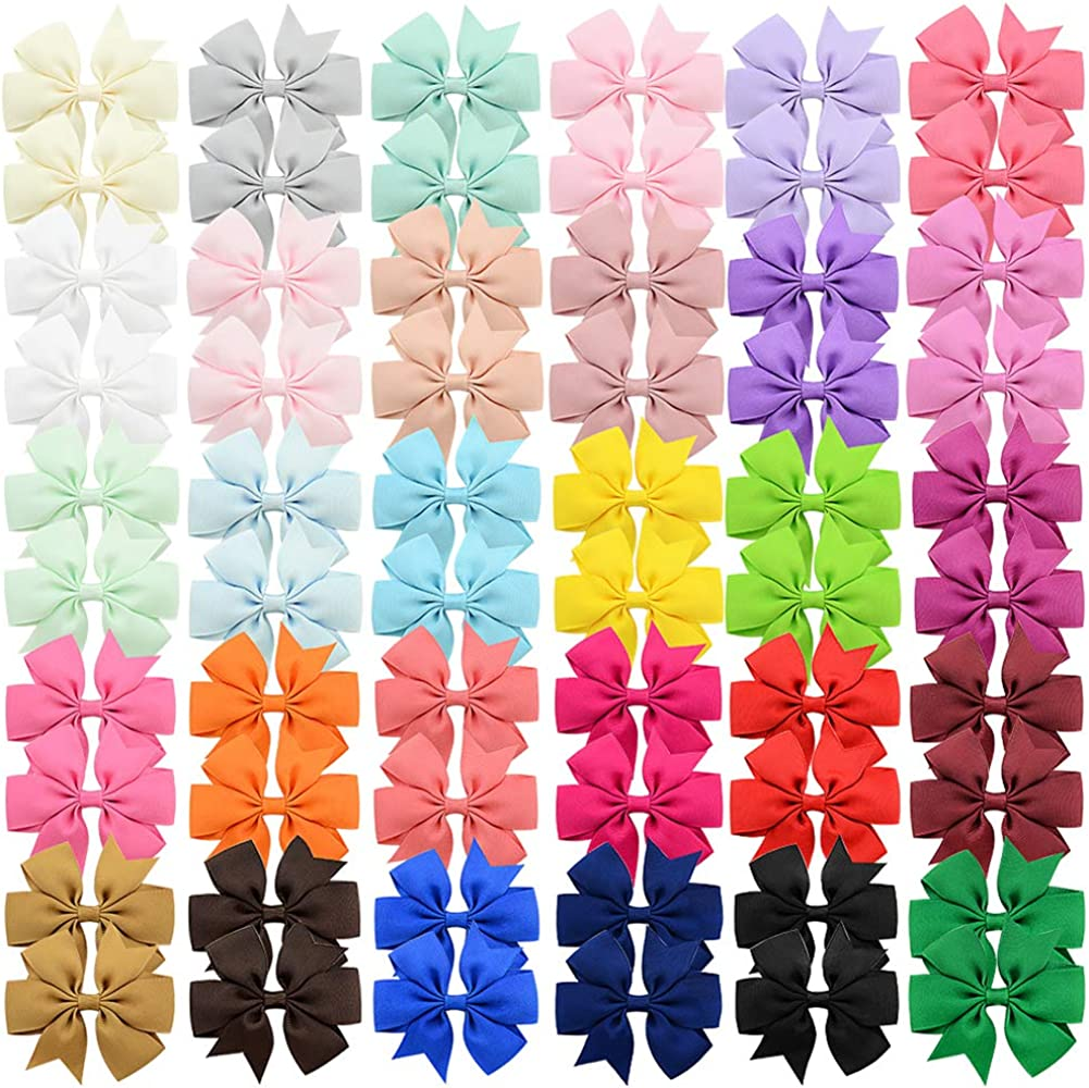 60 lazos para el pelo para niñas de 7,6cm con cinta de grogrén, pinza de cocodrilo, para bebés, niños, adolescentes, regalos en pares