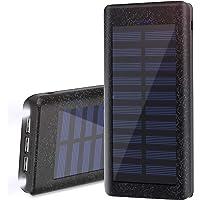 Wiswan Batería Externa Power Bank 24000mAh, Cargador Solar Puerto de Alta Velocidad, 2 LED Ligeros, Total 5A Puertos de Carga USB para iPhone, iPad, Samsung Galaxy, androide y Otros Dispositivos