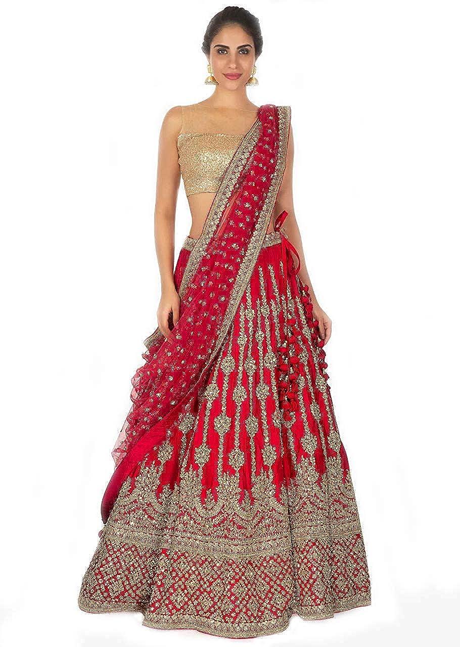 Queen of India Fashion Women's Tafeta Silk Heavy Embroidary Work Lehenga Choli MALBARI RED