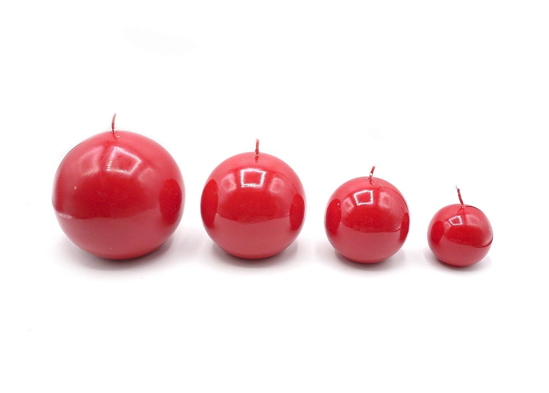 GIRM® KIT00015 Set 4 candele a sfera color rosso con 4 diametri: 12-10-8-6 cm. Decorazione natalizia, candela di Natale, centrotavola di natale