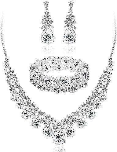 Femmes Collier Cristal Strass Collier Boucles d/'oreilles Acier Inoxydable Bijoux Sets
