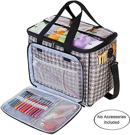 Teamoy Bolsa de Ovillos Organizador para Lanas Bolso de Crochet Mochila Bolsa de Almacenamiento de Tejido en Orden(NO Incluido Accesorios),Grande, Puntos Grises: Amazon.es: Hogar