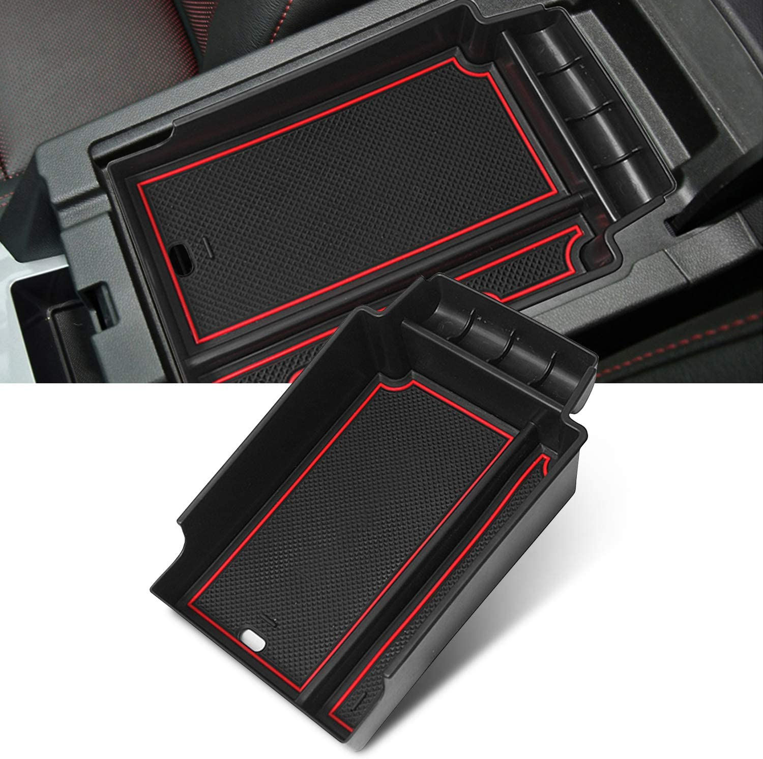 YEE PIN 2019 Blazer Center Console Organizer Tray Blazer Armrest Tray Armrest Box Secondary Storage Insert ABS Materials Tray Compatible with 2019 2020 Chevrolet Blazer Red