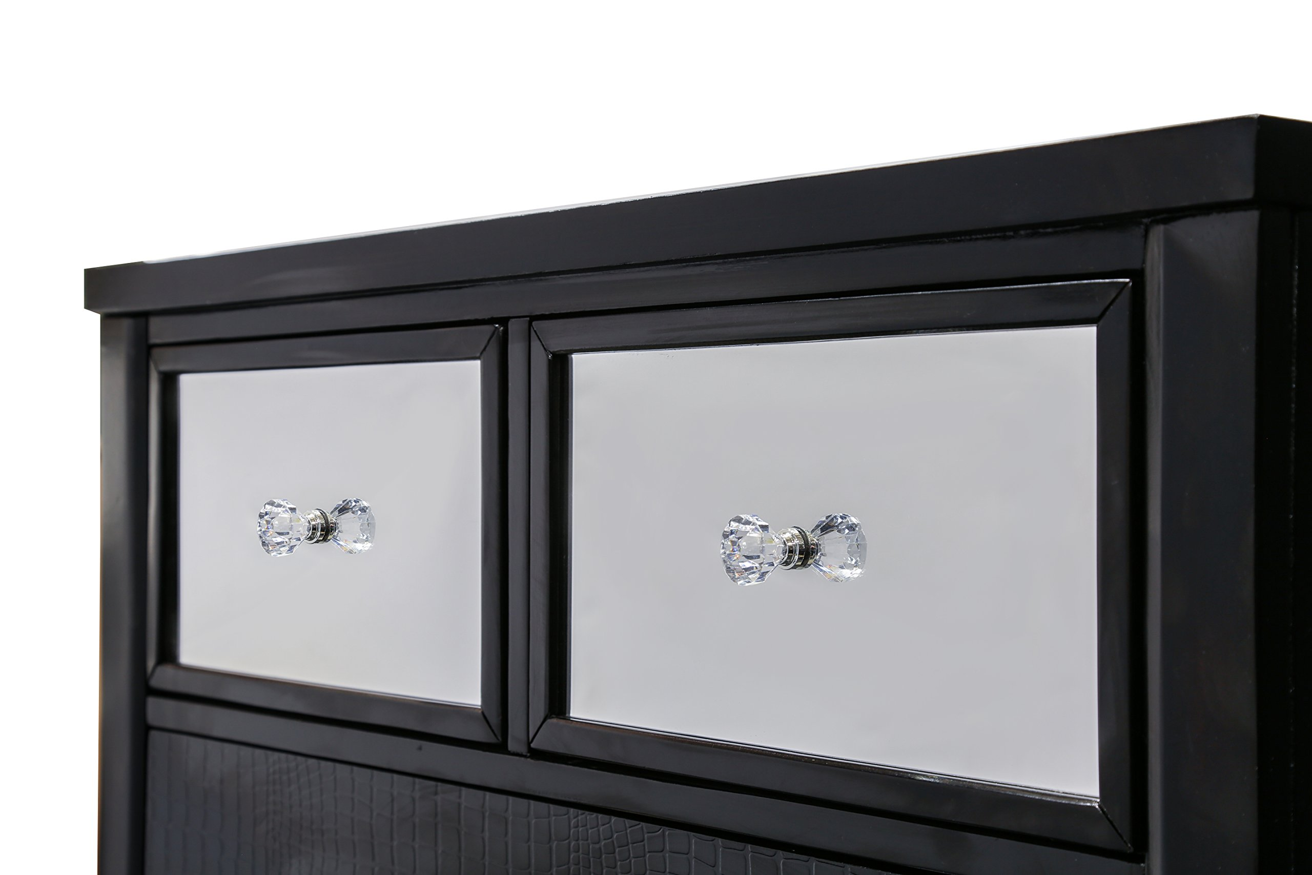 HOMES: Inside + Out ioHOMES Nilean Mirror-Paneled Crocodile-Skin Chest, Black by HOMES: Inside + Out (Image #3)