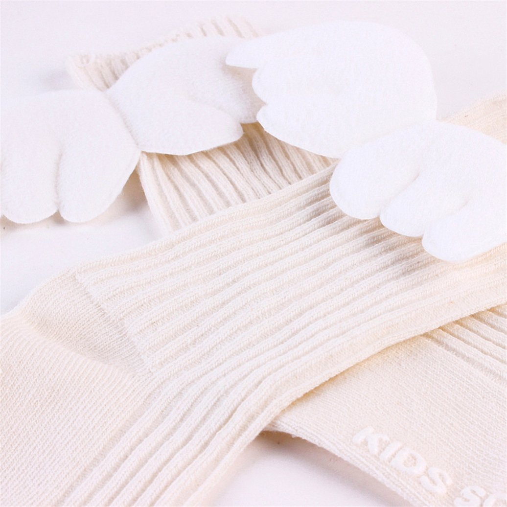 beiguoxia Baby Girls Cotton Ruffles Soft Knee High Leg Warmer Cute Angel Wings Socks