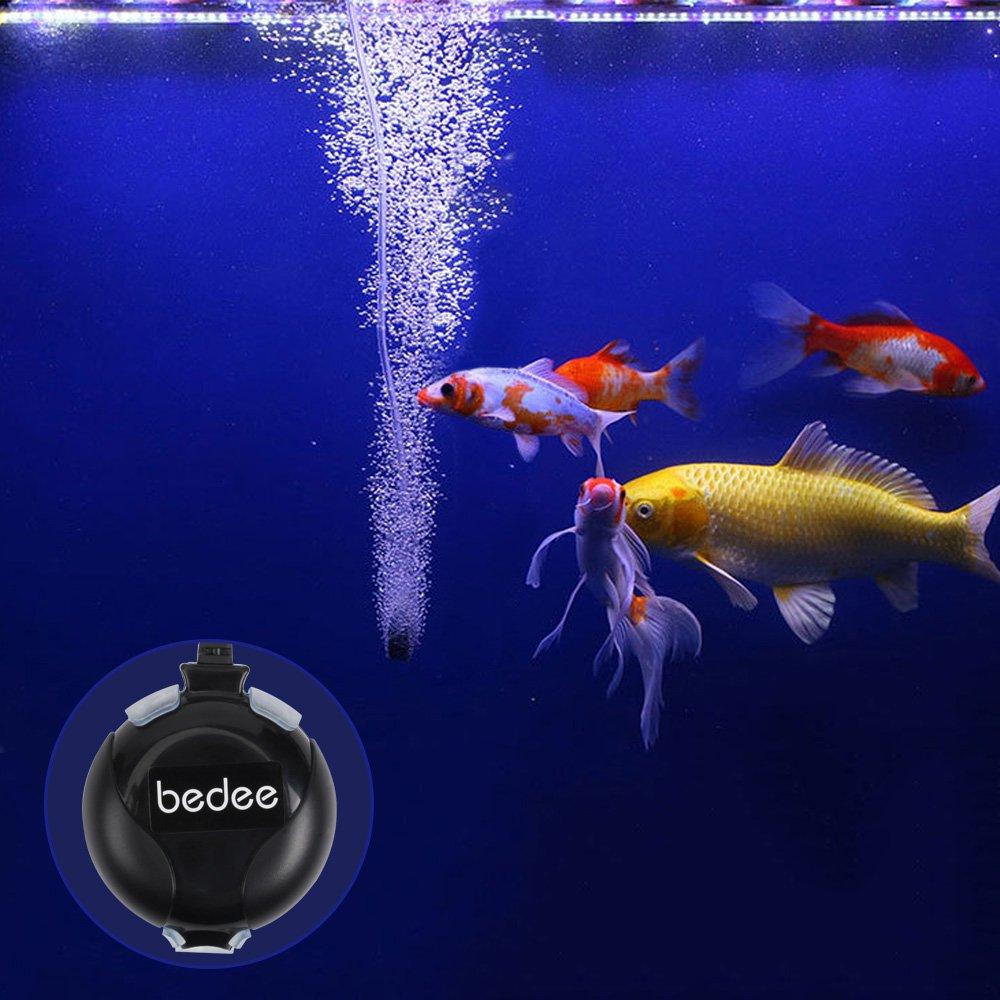 Bedee Air Pump, Aquarium Air Pump Fish Tank Air Pump Oxygen Supply Silent Mini 1W 0.45L/Min with Tubing Air Pump Accessories/Air Bubble Stone For Fish Tank Up to 50 Litre