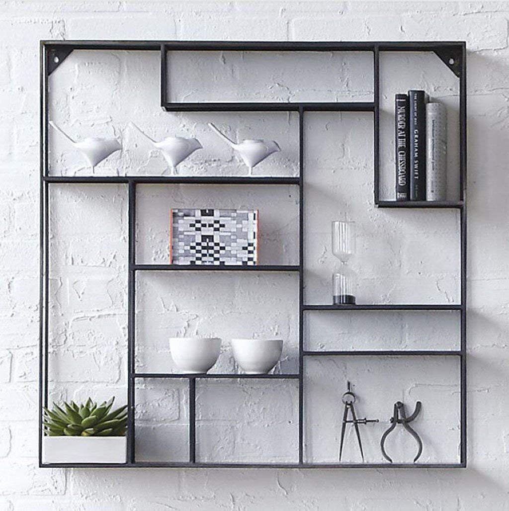 YCT ヴィンテージ錬鉄製の棚創造的な装飾的な仕切り壁のキャビネット壁掛け棚本棚。棚 B07RNZ2B1F
