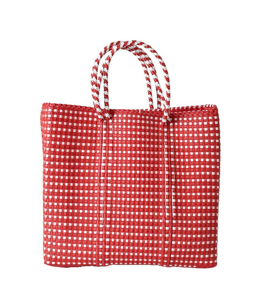 (レトラ) Letra メルカドバッグS BORDER&pattern  mercado-bag-bomidi-s B07D555YCJ S レッドミニチェック レッドミニチェック S