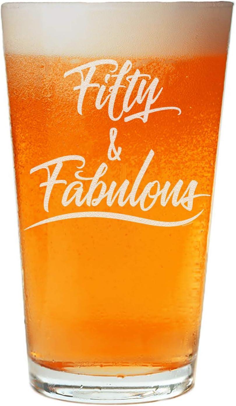 NeeNoNex Fifty & Fabulous Beer Pint - 50th Fiftieth Birthday Gift