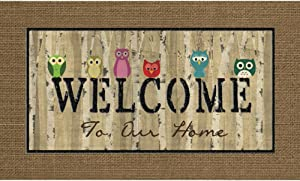 Apache Mills Masterpiece Welcome Owls Door Mat, 18-Inch by 30-Inch