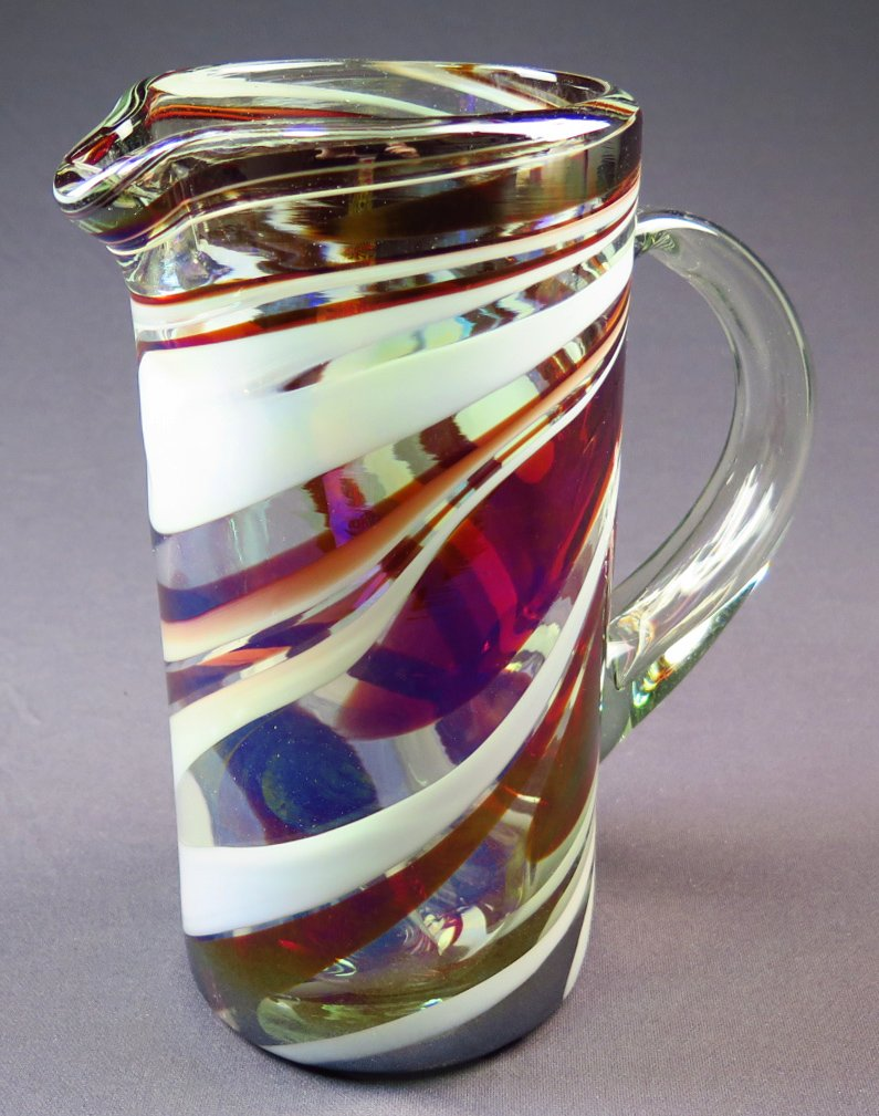 Hand Blown Glass Margarita or Juice Pitcher, Red White Swirl Design Straight 8 Cups